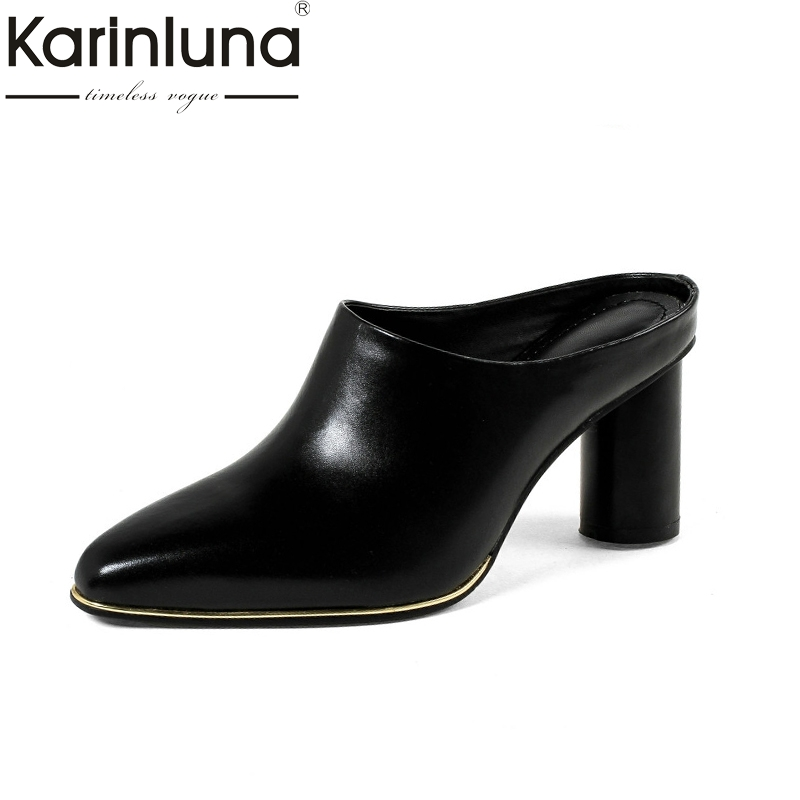 133e823852db Detail Feedback Questions about Karinluna 2018 Summer Brand Cow Leather  Women Mules Leather Insole High Heels Pumps Fashion Hot Sale Casual Shoes  Woman on ...