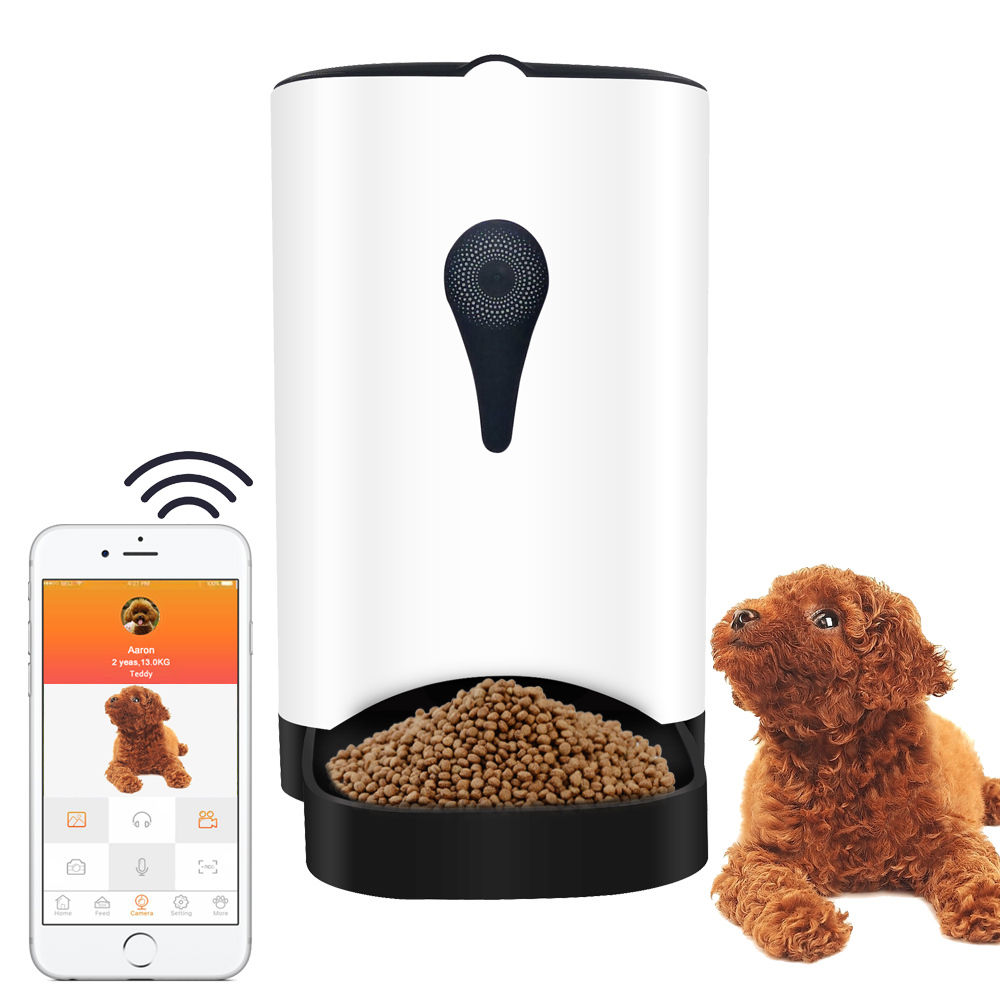 Lucsun  Automatic Smart Pet Feeder with Wireless Camera for Small and Medium Dogs & Cats with Programmable Feeding Timer 2 Way A automatic pet feeder dispenser feed food for dog cat wifi recording with 720p wifi camera phone wireless control feeder easy set