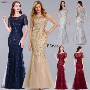 Image 2 - Robe De Soiree Ever Pretty Sexy Mermaid Evening Dresses Long Sparkle Draped Tulle Formal Dresses Elegant Women Party Gowns 2020