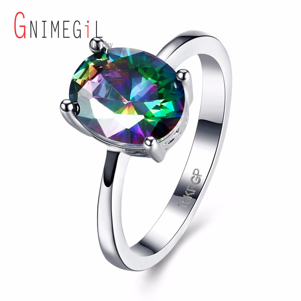 GNIMEGIL Classic Oval Zircon Mystic Rainbow Stone Engagement Wedding Rings for Women Whi ...