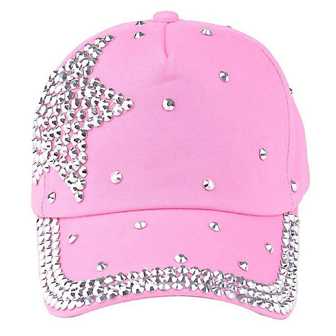 SAF-Baseball Cap Rhinestone Star Shaped Boy Girls Snapback Hat Pink