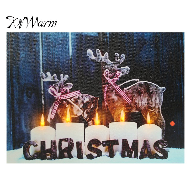 Led Bilder Weihnachten.Led Light Up Christmas Pattern Snow Night Canvas Pictures Painting Home Room Hotel Bar Wall Hanging Decorations Christmas Gifts In Painting