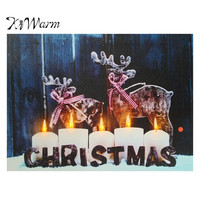 LED Light Up Christmas Pattern Snow Night Canvas Pictures Painting Home Room Hotel Bar Wall Hanging