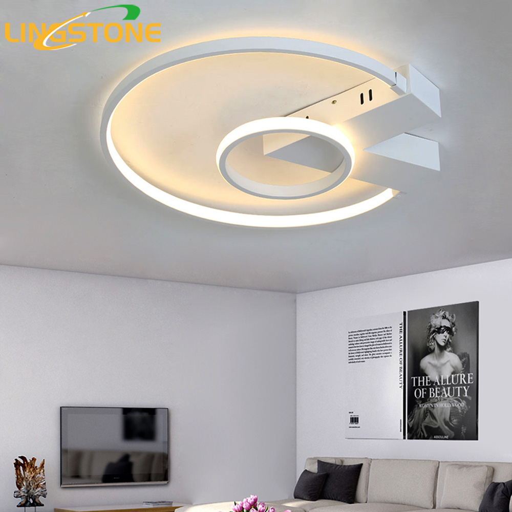 Led Ceiling Lamp Plafonnier Modern Lighting Plafondlamp Ring Light With Remote Control Living Room Bedroom Restaurant Bathroom black and white round lamp modern led light remote control dimmer ceiling lighting home fixtures