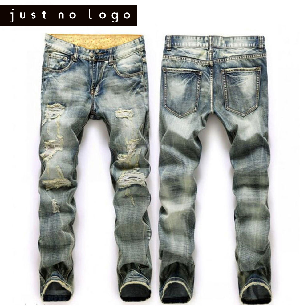 Men/ Male Fashion Straight Biker Denim Jeans Long Slim Fit Straight Trousers Destroyed Ripped Distressed Damaged Holes Pants 2017 fashion patch jeans men slim straight denim jeans ripped trousers new famous brand biker jeans logo mens zipper jeans 604