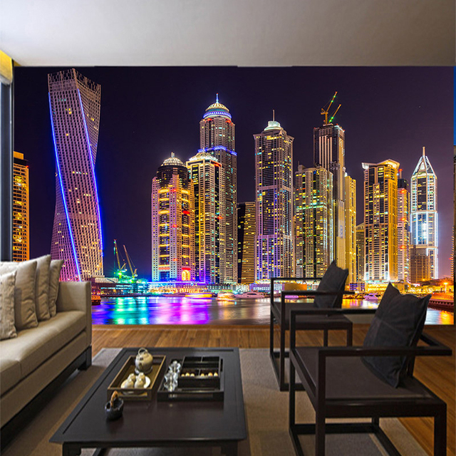 Custom 3D Photo Wallpaper Dubai Night View City Building Wall Mural Papers Home Decor Living