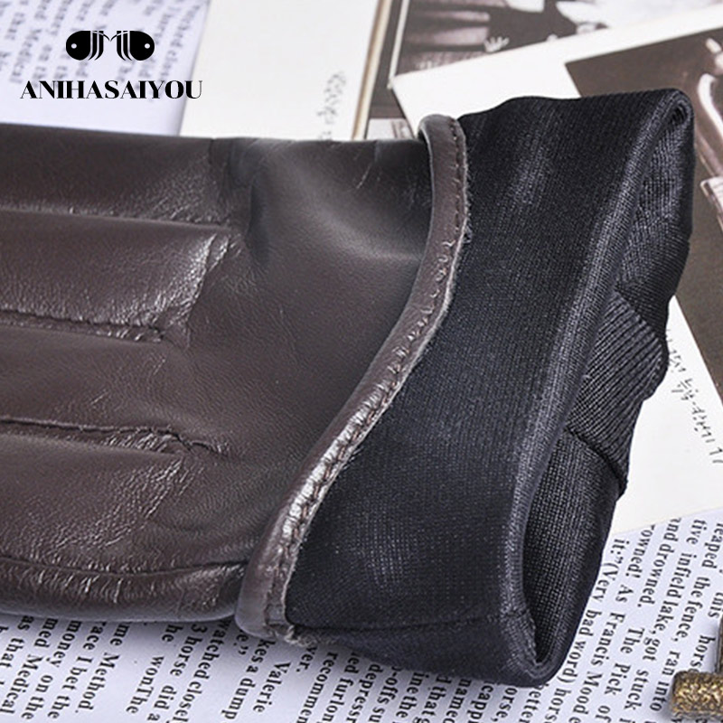 High grade Korean women leather gloves sheepskin rivets genuine leather gloves women thin screen touch gloves - L096