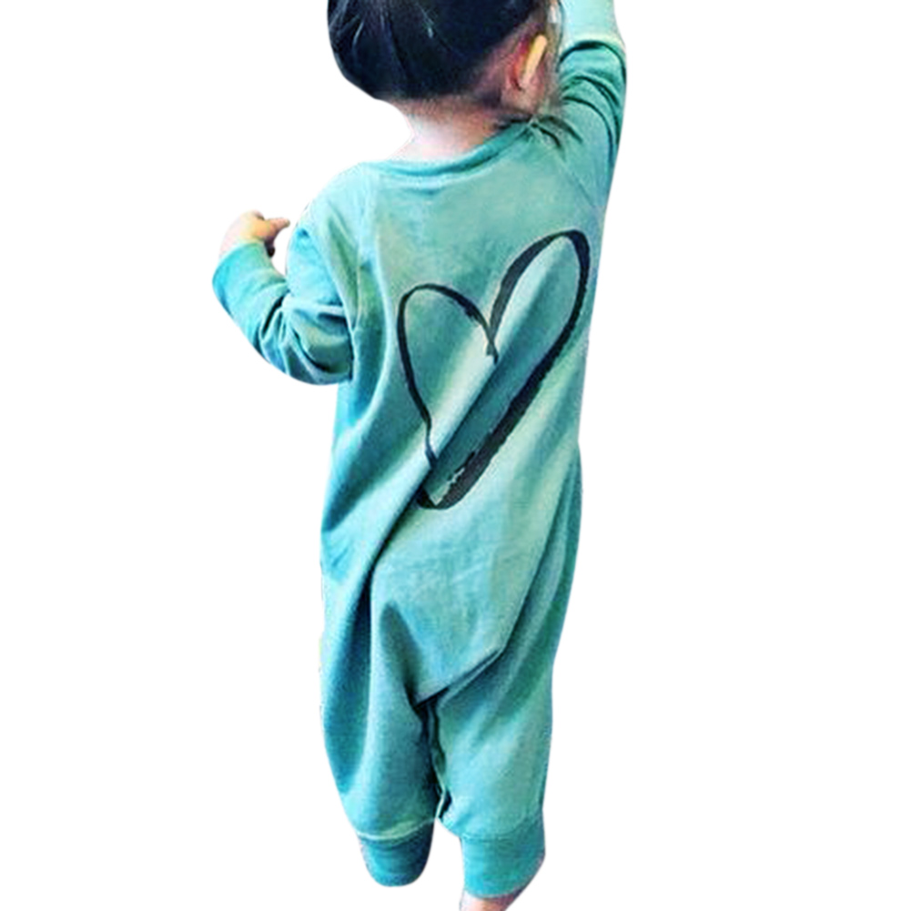 Autumn Newborn  Long Sleeve Love Heart Printed Romper Infant Baby Boy Girl Cotton Green Jumpsuit Clothes Sleepsuit Outfits 2017 hot newborn infant baby boy girl clothes love heart bodysuit romper pant hat 3pcs outfit autumn suit clothing set