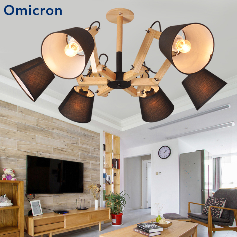 Omicron Modern 6 Arms LED Chandeliers Adjustable Solid Wood Power Saving LED Lamps For Bedroom Living Room Home Decor Lights