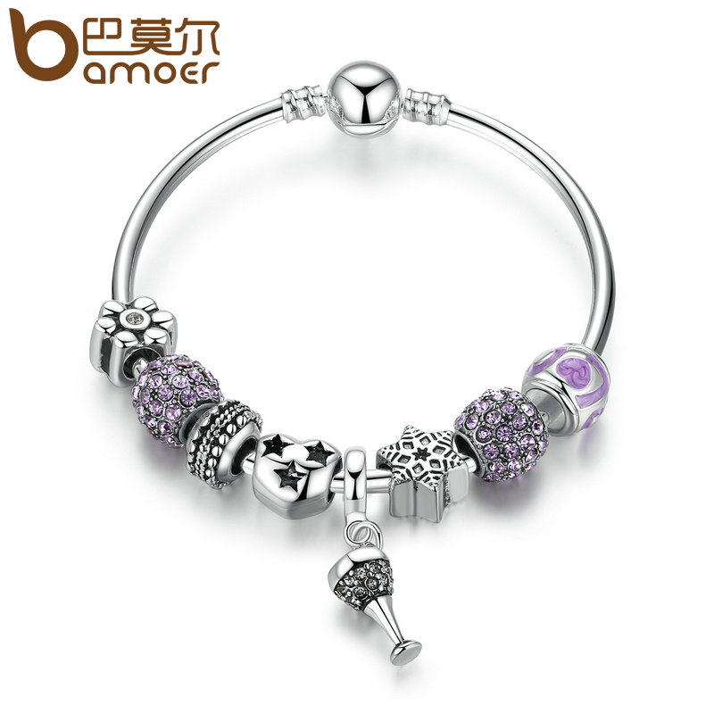 BAMOER Silver Color Openwork Heart Charm Bracelets with Purple Crystal Beads Bracelets & Bangles for Women Jewelry PA3815 fashionable solid color openwork wrapped skirt for women