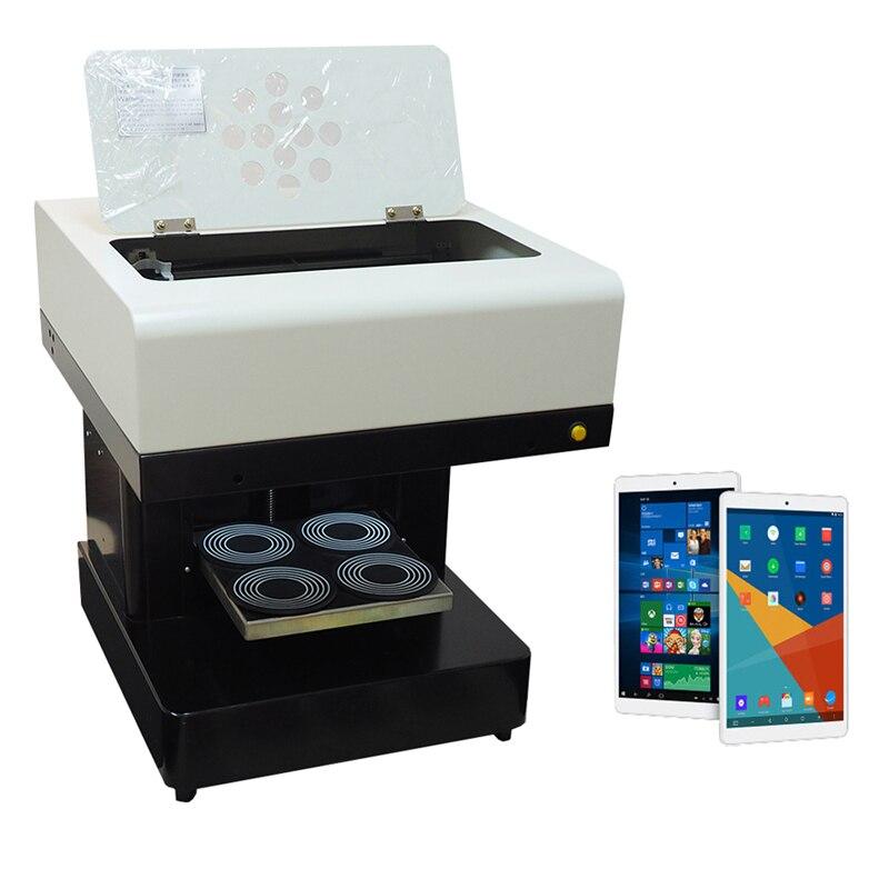 Machine d'impression de café de 4 tasses avec l'imprimante de café de selfie de comprimé imprimante comestible de la nourriture 3d de contact d'usb pour le biscuit de bière de café