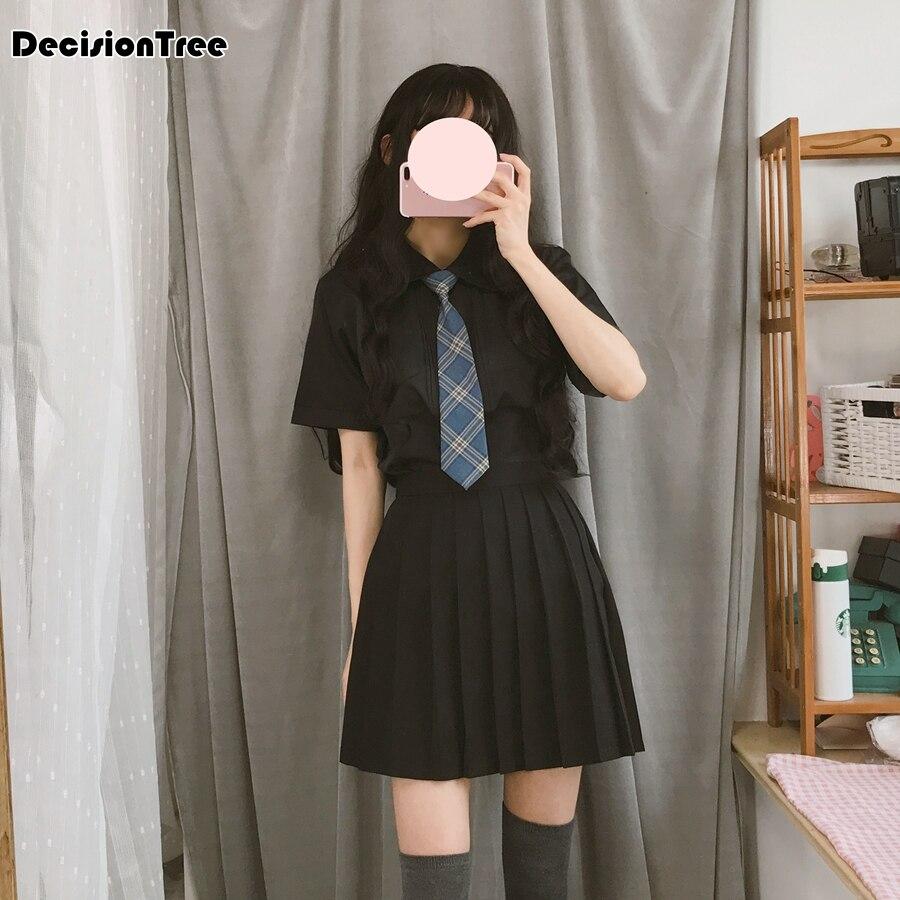 2020 Arrival Sailor Suit School Uniform Sets Jk School Uniforms For Girls White Shirt And Dark Blue Skirt Suits Student