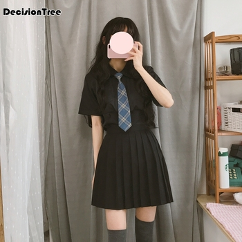 0130f34c8 Uniformes escolares japoneses para mujeres uniformes escolares de algodón  de marinero de la Marina coreana para niñas falda de tirantes + camisa de  manga ...