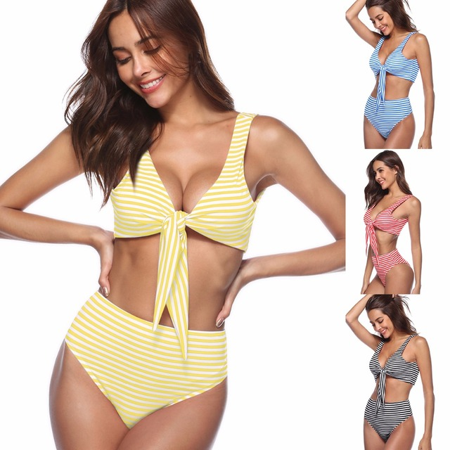 58b2cd5d5e Women s Adjustable Top Tie Swimsuits High Waisted Swimwear Bathing Suits  Sexy Front Tie Thong Plaid Bikini Set Push Up Biquini