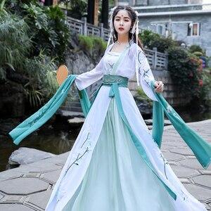 Image 3 - Hanfu Disfraz chino antiguo traje de danza folclórica tradicional para mujer, ropa de la dinastía Tang, disfraz de hada bordada para escenario