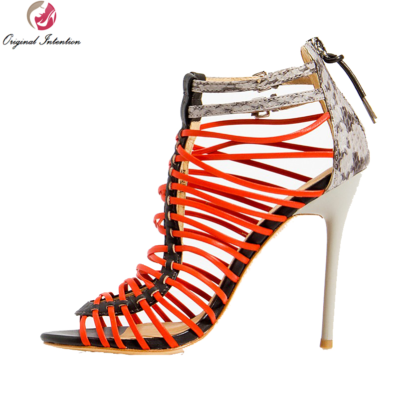 ФОТО Original Intention Stylish Women Gladiator Sandals Sweet Narrow Band Thin Heel Sandals Shoes Woman Plus Size 4-15
