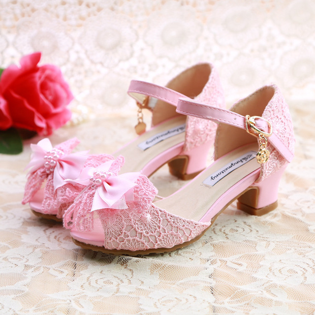 2acbbf1ee45 Princess Wedding party school shoefor girls high-heeled heal lace pink bow  sandals age size 5 6 7 8 9 year old