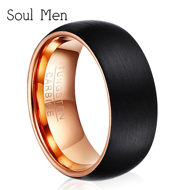 7940f34fe33 Drop Shipping 8mm Men s Black   Rose Gold Dome Color Ring Hot Sale in  Europe US Brazil Unisex Tungsten Wedding Band