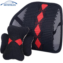 KKYSYELVA Car Seat Supports Neck Pillow Set Lumbar Support for Auto Back massage Interior Accessories