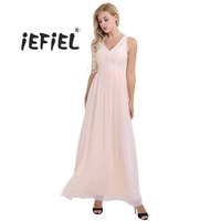 IEFiEL Women Ladies Embroidered Chiffon Sleeveless Bridesmaid Long Party Dress Evening Formal Prom Gown Wedding Maxi