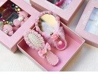 한국 공주 핑크 리본 다이아몬드 꽃 거울 빗 키트 소녀 생일 크리스마스 웨딩 파티 ~ 홈 호의