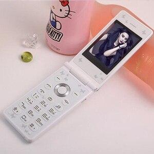 Image 3 - Флип 2,4 с сенсорным экраном и двумя SIM картами, в режиме ожидания, русский, французский, испанский, для женщин и девушек, милый светодиодный фонарик, мобильный телефон GSM