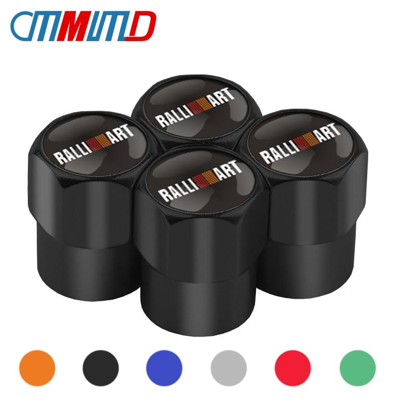 4Pcs Car Styling Auto Wheel Caps Tire Valve Caps For Mitsubishi RalliArt Lancer Ralli Art 10 Asx Car Emblems Badge Accessories