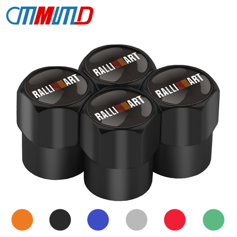 Black 4pcs wheel valve Caps Case Mitsubishi RalliArt Lancer Ralli Art Styling