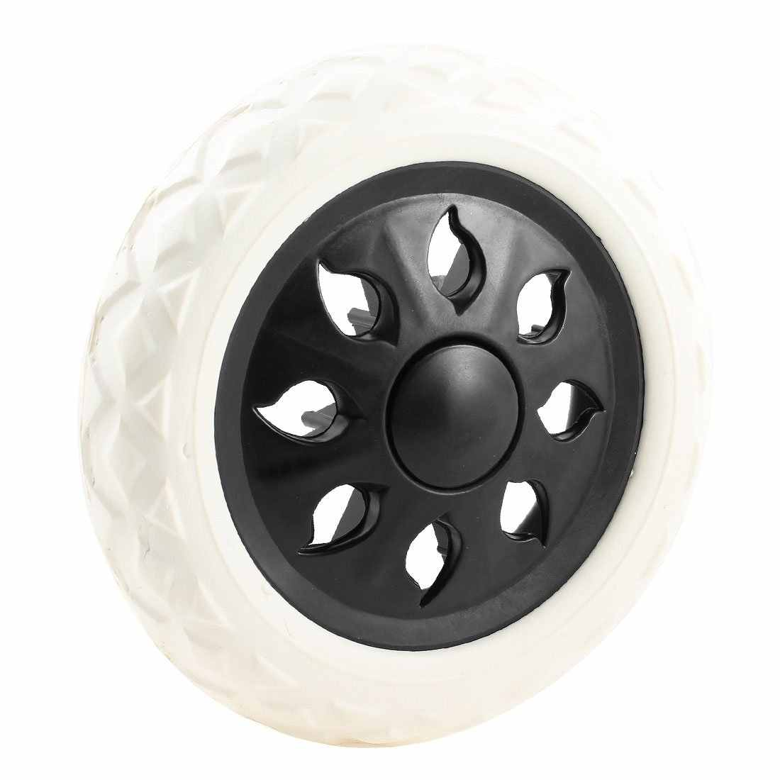 Black White Plastic Core Foam Shopping Trolley Cartwheel Casters