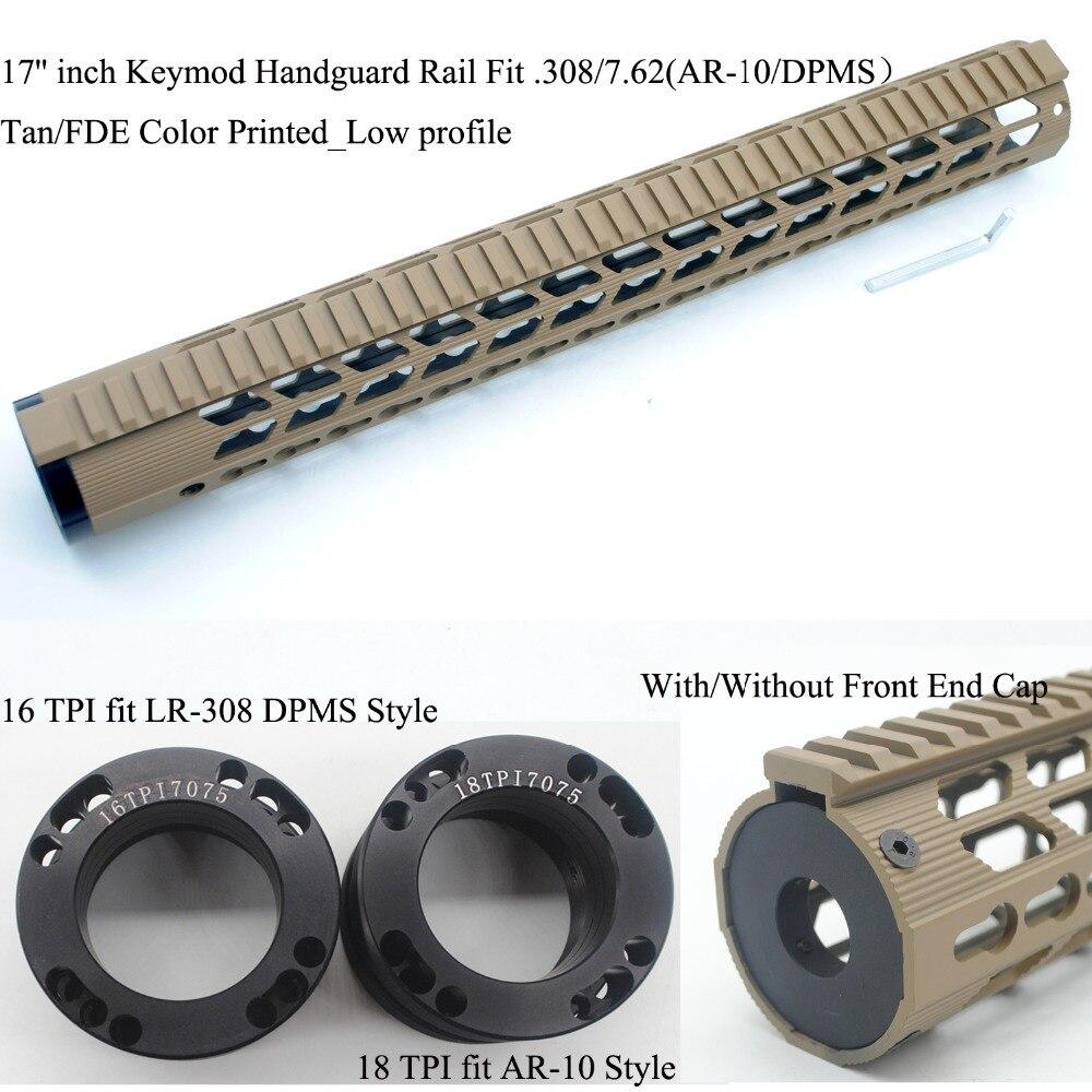 TirRock 17'' inch .308/7.62 Keymod Handguard Rail Free Float Picatinny Mount System Ultralight Aluminum_ Tan/FDE Color Printed стоимость