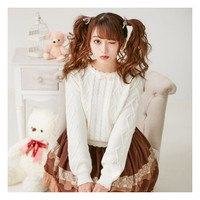 Adomoe New Women's Sweater Waves Knitwear Pure White Beige Pink Lovely Cute Japan Teens Young girl Bow tie Sweet Short Sweaters