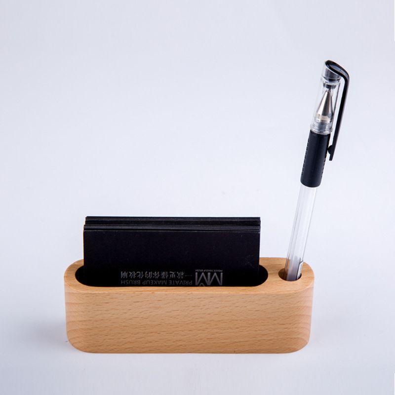 Черный орех бук дерево ID Имя карты Стенд офисный стол деревянная визитная карточка держатель Органайзер ручка коробка для хранения