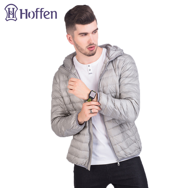 Hoffen Mens Winter Jacket 90% White Duck Down Jackets Male Hooded Ultra Light Packable Down Jackets Slim Casual Parkas Coats