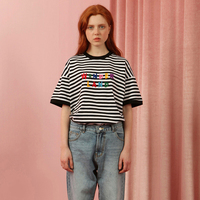Fashion Loose Womens Tee Shirt Tops Black White Striped Printed Letters Embroidery Short Sleeve Ladies T