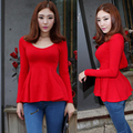 New Fashion Cotton Cute T-Shirt Women Long-sleeve Slim Peplum Top Tee Ruffles Casual Shirt Ladies Blusa Shirts