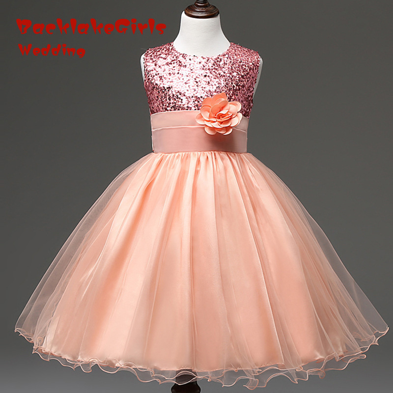 New Arrival 2018 Elegant Sequin YIYI   Flower     Girl     Dresses   Hot Long Princess Party Sequined first communion   dresses   FD005