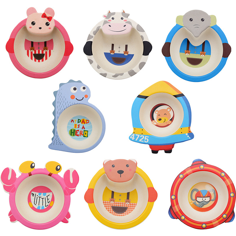 Baby Feeding Bowl Bamboo Fiber Children Dishes Cartoon Toddler Training Bowl BPA Free Kids Plate