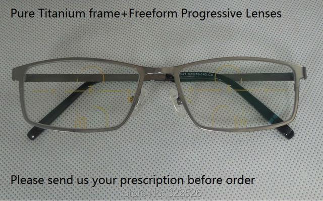 Pure Titanium рамка + Мульти-координационного Freeform прогрессивные линзы; бифокальные нескольких фокусное пресбиопии очки для чтения, Размер M и L