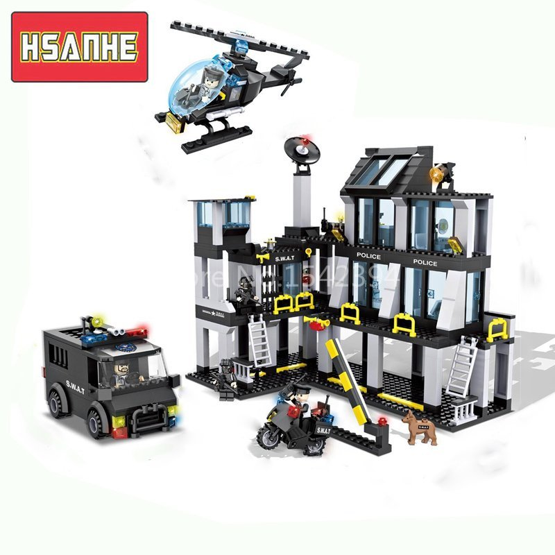 HSANHE Police Station Helicopter Truck Swat DIY Model Kits Building Blocks Brick Educational Set Toys For Children Friends Gifts jie star 29012 swat truck 302pcs diy educational plastic children toys building block sets