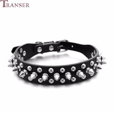 Transer Pet Dog Supplies PU Leather Punk Rivet Spiked Dog Collar Pet Collars For Small Dog Cat 80124(China)