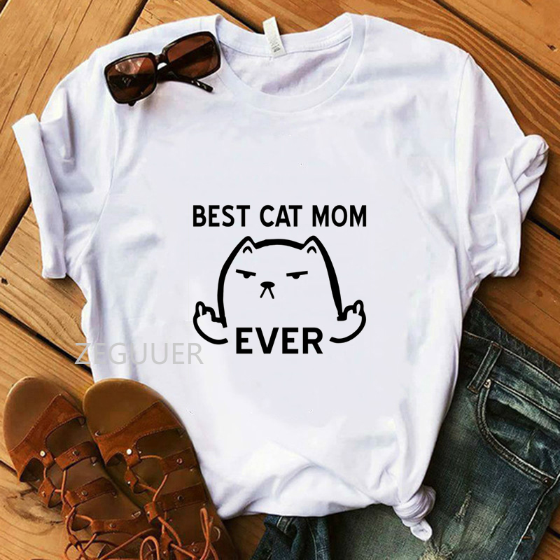 Vogue Women T-Shirt Best Cat Mom Ever Letter Tshirt Girl 100% Cotton White Hipster Tees Lady Super Soft Casual Fck U Cat Tops