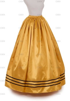 Civil War Styled Satin Skirt Ball Gown Victorian Yellow Skirt Custom Make Plus Size