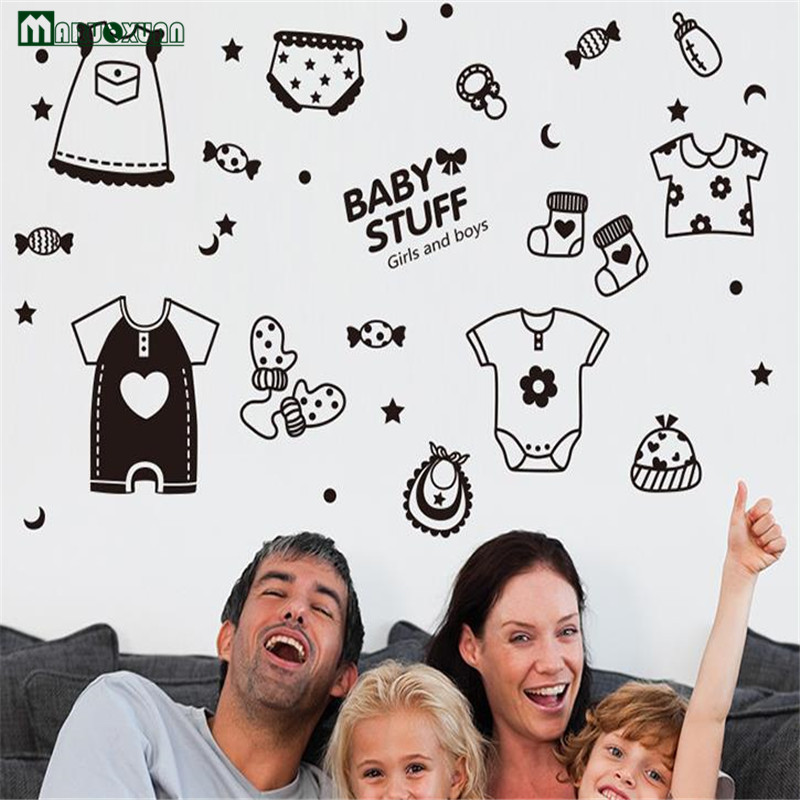 Black Children Baby Business Shop Window Glass Door Sticker Clothing Store Baby Care Shop Waterproof Wall Stickers