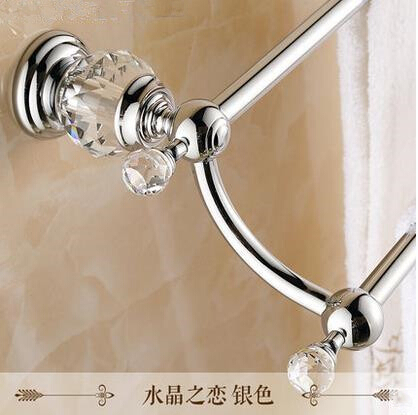 high quality 62 cm bathroom towel rail brass and crystal chrome double Towel bar,Towel holder,towel rack 2016 high quality brass and crystal bathroom towel rack gold towel holder hotel home bathroom storage rack rail shelf