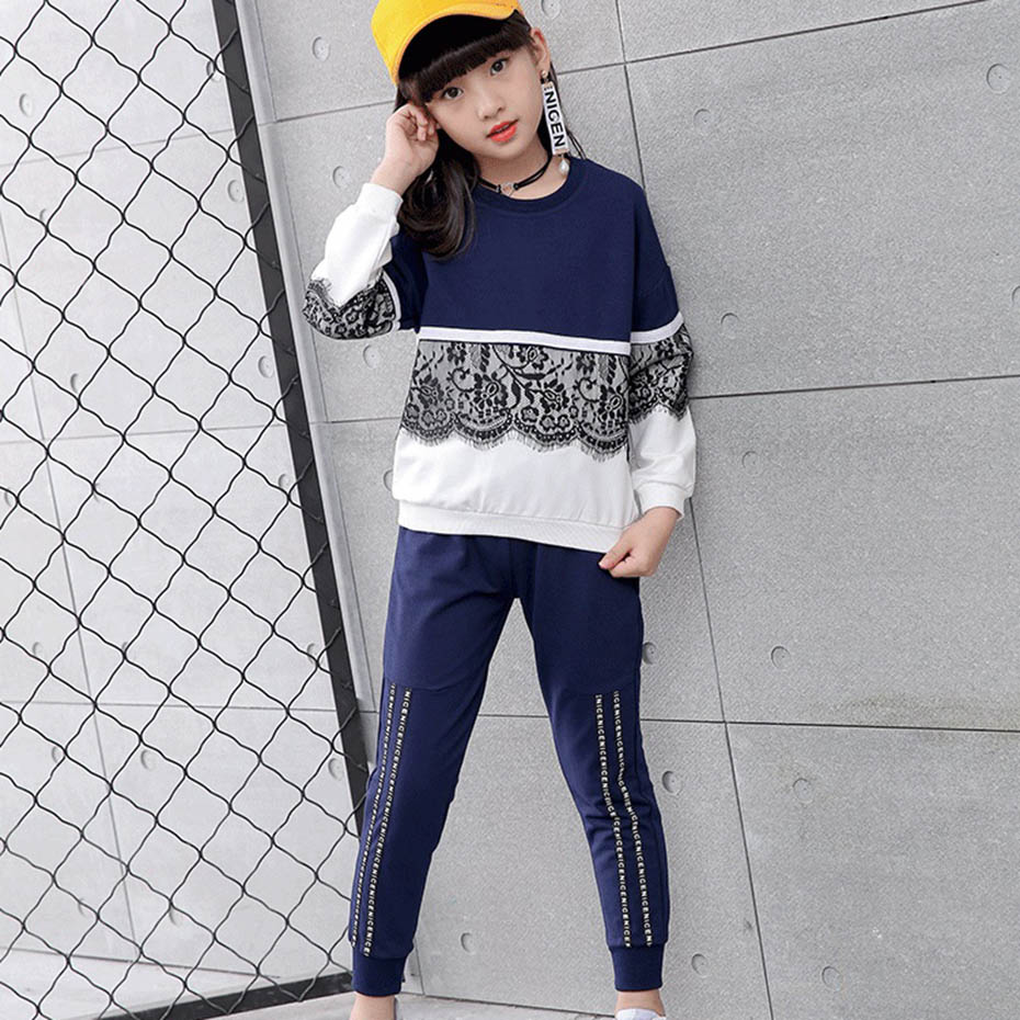 Aixinghao Girls Sports Suit Spring Lace Sweatshirt + Pants Children Clothing For Girls Teen Kids Girls Clothes 8 10 12 14 Year