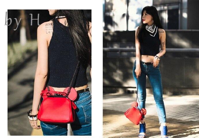 Par H 2019 sacs à main en cuir véritable Mickey Mouse femmes sacs Mickey épaule diagonale sac décontracté mode fille petit sac rond