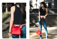 by H 2019 genuine leather handbags Mickey Mouse Women Bags Mickey Shoulder Diagonal Bag Casual Fashion Girl Small Round Bag