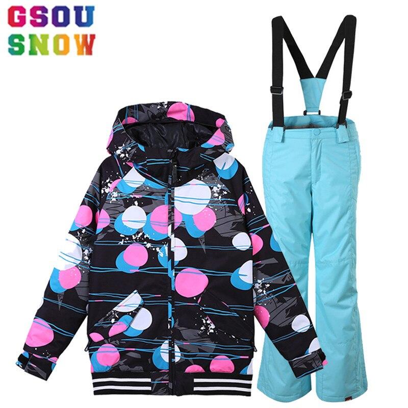 GSOU SNOW/детский лыжный костюм, лыжный комплект для девочек, куртка + штаны, детский лыжный костюм, непромокаемый комплект для сноуборда, зимняя