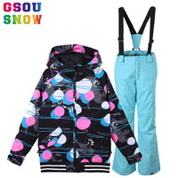 GSOU SNOW Kids Ski Suit Girls Ski Set Jacket Pant Children Skiing Suit Waterproof Snowboard Set