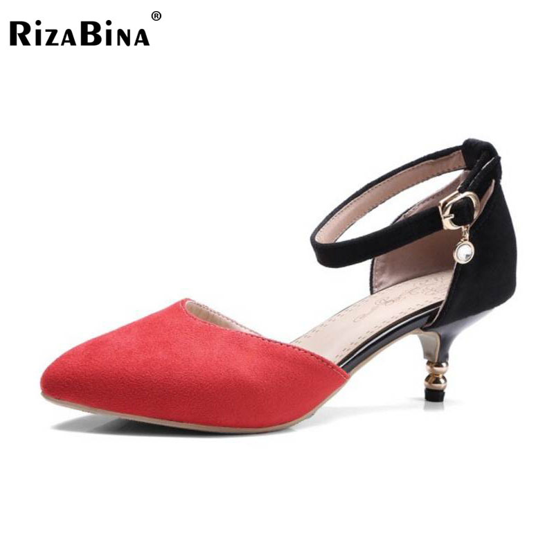 RizaBina Size 30-43 Office Lady Pointed Toe High Heel Sandals Women Ankle Strap Thin Heels Sandals Summer Shoes Women Footwears lady big size 4 15 elegant summer glitter buckle strap soft pointed toe thin high heeled sandals shoes women pumps 5colors girls